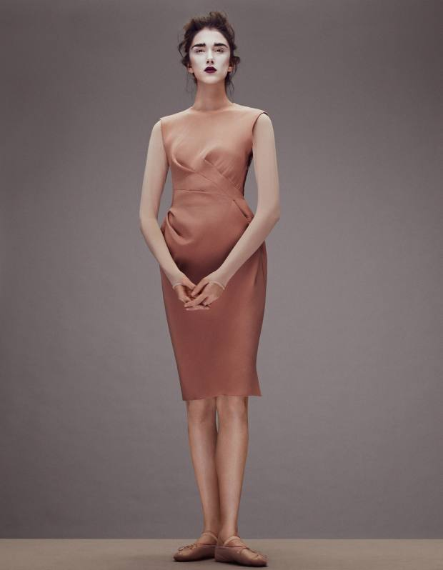 Ana wears Lanvin shorn-velvet dress, £2,245. Wolford nylon-mix body,