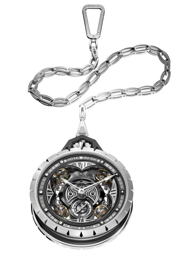 Roger Dubuis titanium Excalibur Spider pocket watch (price on request, exclusive to Harrods)