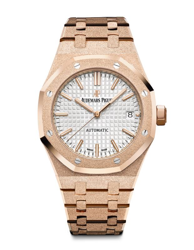 Audemars Piguet rose gold Royal Oak Frosted Gold watch, from SFr37,500 to SFr51,500 (about £30,562 to £41,979)
