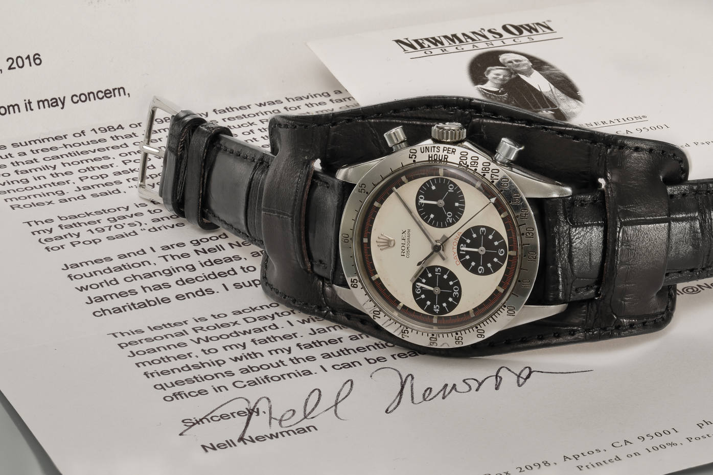 The Paul Newman Rolex Daytona on Jean Paul Menicucci Bund strap, which recently sold for $17.8mat auction