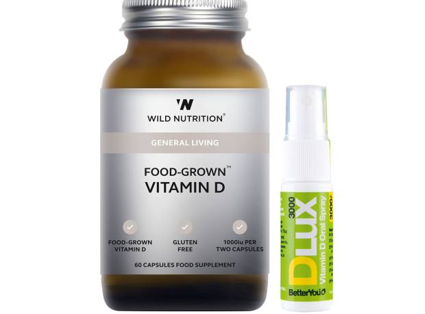 From left: Wild Nutrition Food-Grown Vitamin D, £10 for 60 capsules. BetterYou DLux Vitamin D Oral Spray, from £7 for 15ml