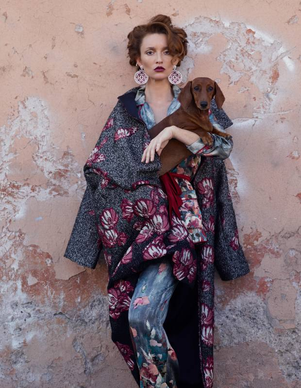 Alberta Ferretti wool-mix coat, £1,445, silk top, £890, and matching trousers, £520.Chopard white gold, diamond and ruby Haute Joaillerie earrings, price on request