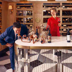 From far left: wines, spirits and cigars buying manager Ed Gerard, writer Alice Lascelles and head spirits buyer Nick Fleming in Harrods' new Fine Wines & Spirits Rooms