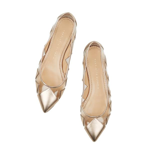 Charlotte Olympia nappa leather Ana ballerinas with PVC detail, £495