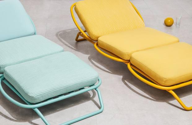 Rubelli Tenstripe fabric, £118 per m, and Fiftyshades fabric, £75 per m