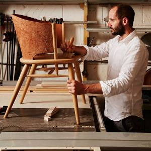 Gareth Neal with Hamylin chair, £2,620, available from The New Craftsmen