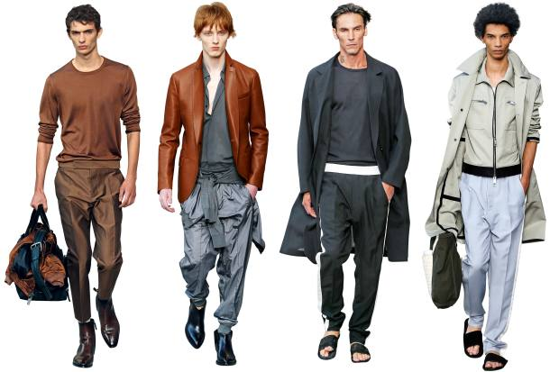 From left: wool trousers, £620, and leather boots, £1,480. Leather jacket, £4,800, and cotton shirt, £450. Wool coat, £2,780, silk knit top, £750, wool trousers, £1,060, and leather sandals, £660. Cotton coat, £2,280, cotton jacket, £2,100, and leather sandals, £660