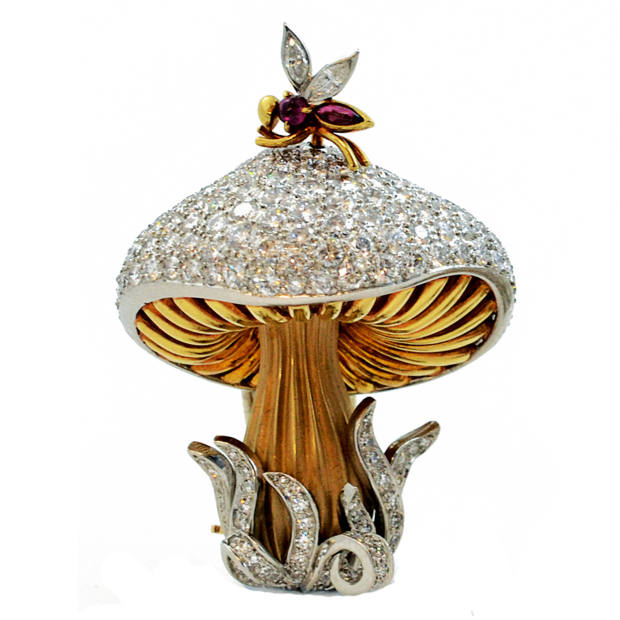 A c1950 gold, platinum, diamond and ruby brooch, £14,500 for a set of two, from Sandra Cronan