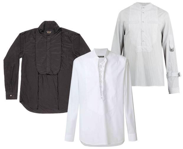 From left: Comme des Garçons polyester shirt, £540, Balmain cotton shirt,£600, and JW Anderson cotton shirt, £360