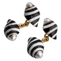 Trianon cufflinks in 18ct gold and Engina shell with pearls, $3,800