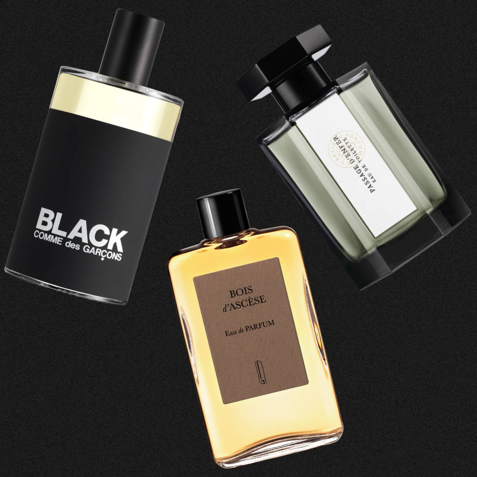 From left: Comme des Garçons Black, £80 for 100ml EDT. Naomi Goodsir Bois d'Ascèse, €140 for 50ml EDP. L'Artisan Parfumeur Passage d'Enfer, £105 for 100ml EDT