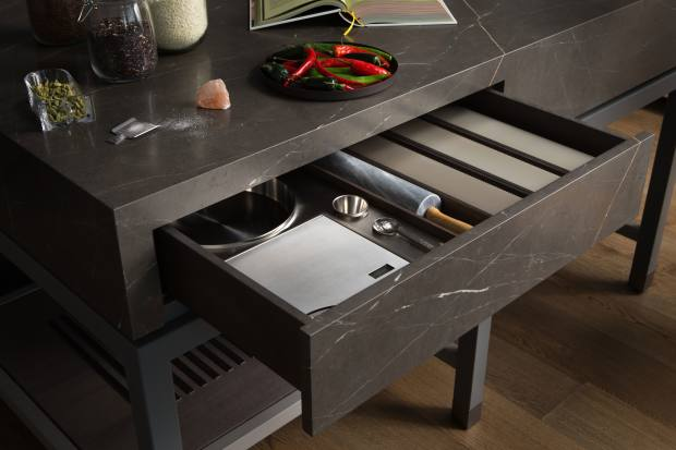A drawer in the Scullery Table preparation island customised to perfectly fit baking equipment