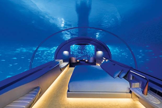 Muraka two-storey semi-submerged villa at Conrad Maldives Rangali Island, around $50,000 per night