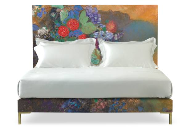 Odilon Redon's Ophelia among the Flowers is framed by a Harlech bed
