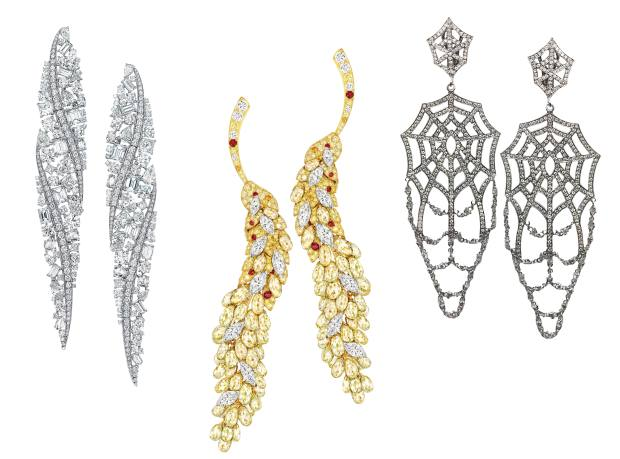 From left: Tiffany & Co platinum and diamond The Art of Transformation earrings, price on request. Chanel gold and diamond Cascade d'Epi earrings, price on request. Bernard Delettrez white gold, darkened silver and diamond Cobweb earrings, £11,280