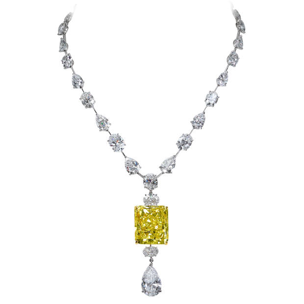 Moussaieff fancy intense yellow and white diamond and platinum necklace