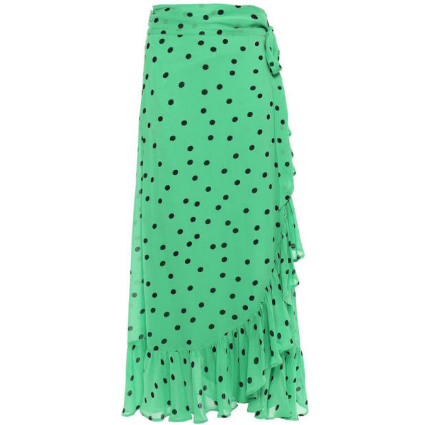 Ganni ruffled polka-dot georgette midi wrap skirt, available at The Outnet