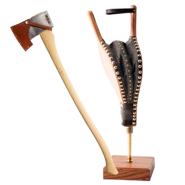 From left: Best Made Co hickory-handled American felling axe, $188. Ruth Devlin Harris tweed and brass bellows, £327