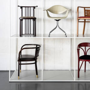Top row: Lambda chairs by Marco Zanuso and Richard Sapper, £800. Middle row from left: Josef Hoffmann Fledermaus chair, £950. George Nelson DAF chair, £2,000. Otto Wagner chair, £950. Bottom row from left: Otto Wagner chair, £950. Thonet 225P chair, £950