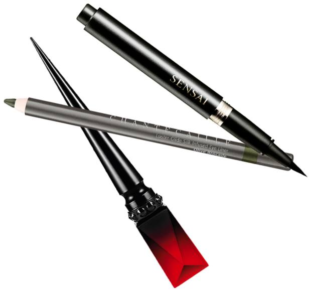 From top: Sensai Liquid Eyeliner, £31. Chantecaille's Luster Glide Silk Infused Eye Liner, £25. Christian Louboutin Oeil Vinyle Luminous Ink Liner, £58