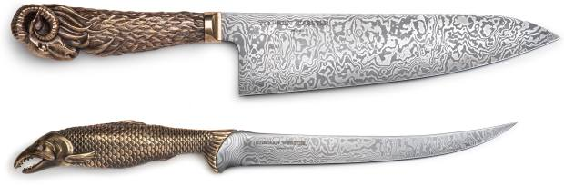 From top: Stephen Webster bronze andDamascus-steel Ramchef'sknife, £4,425, and Salmon fish-filleting knife,£3,500