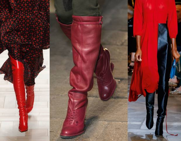 From left: Fendi leather boots, £1,090. Bottega Veneta calfskin and nappa wedge boots, £1,445. Vetements x Manolo Blahnik duchesse satin stiletto boots, £2,346