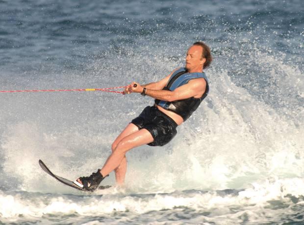 Organiser Pablo Hohenlohe water-skiing.