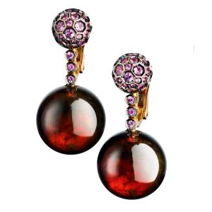 De Grisogono rose gold, pink sapphire and amber resin Boule earrings, £8,400