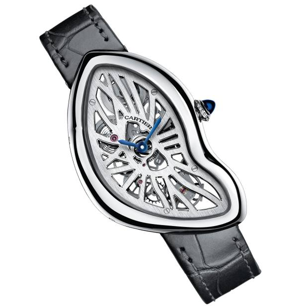 Cartier platinum Crash Skeleton with sapphire cabochon and alligator strap, £57,500