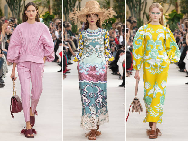 From left: Valentino cotton top, £1,490, and trousers, £980; wool dress, £1,390; cotton dress, £2,200