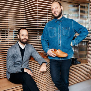 Dancer, choreographer and filmmaker Benjamin Millepied (seated) with Feit co-founder Tull Price at the shoemaker's Greenwich Avenue store