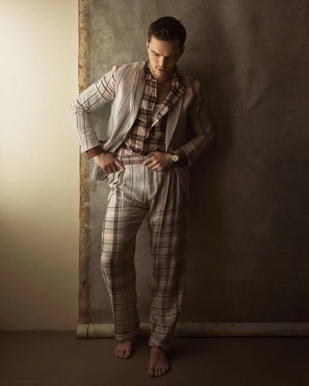 Ermenegildo Zegna linen suit, £3,810, and cotton/silk shirt, £440. Sunspel cotton top, £30. Jaeger-LeCoultre rose gold Master Ultra Thin Date watch on alligator strap, £13,100