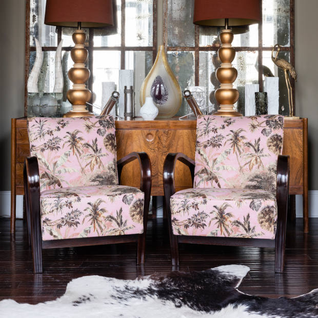 1950s bentwood HF11 chairs, £1,995 for pair, by Karel Kozelka and Antonin Kropacek, updated in Arley House's Timor Rose Pink 25 fabric