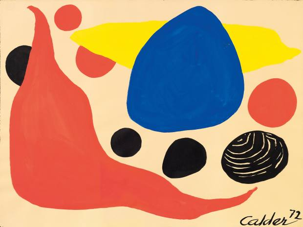 Alexander Calder's abstract Fat Red Boomerang – a gouache on paper that is signed and dated from Galerie Fleury