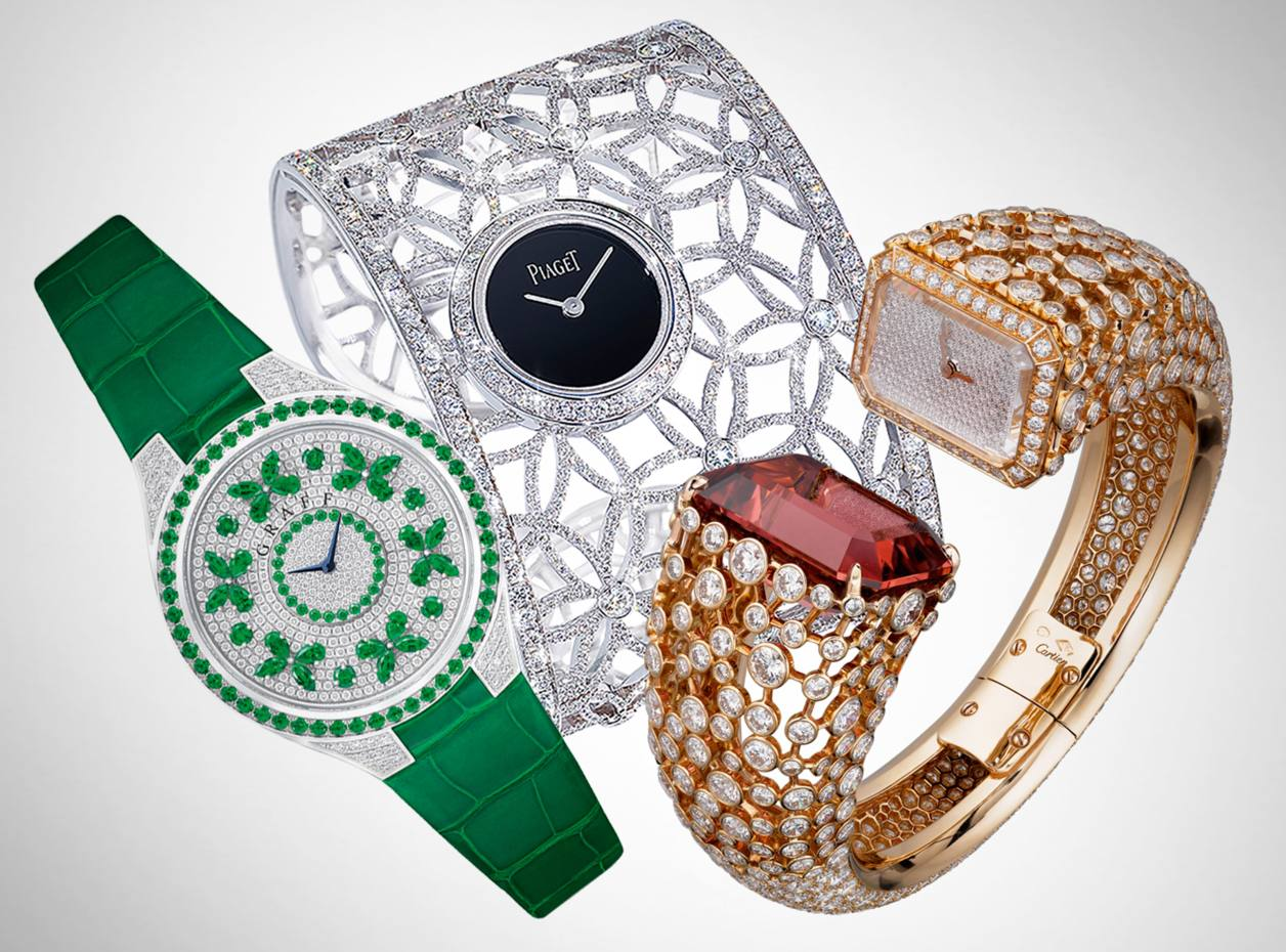 From left: Graff Diamonds white gold, emerald and diamond Disco Butterfly watch on crocodile strap, price on request. Piaget white gold, diamond and black-onyx Secrets and Lights watch, £231,000. Cartier rose gold, rubellite and diamond Etourdissant watch, price on request