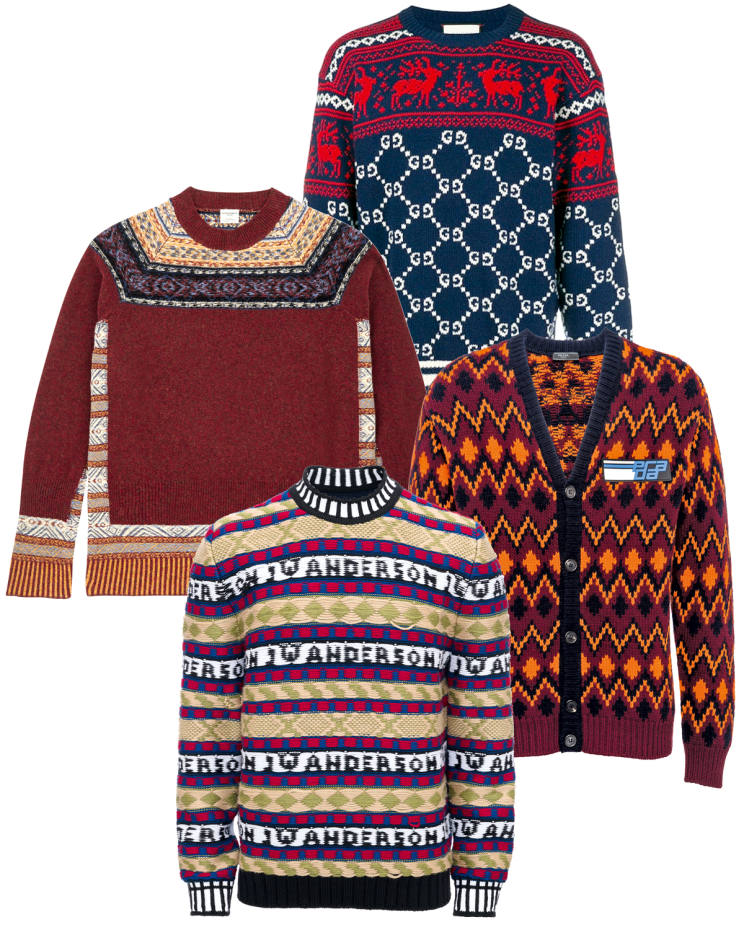 From top: Gucci wool jumper, £700. Kent & Curwen virgin-wool/nylon jumper, £325. Prada wool/cashmere cardigan, £1,020. JW Anderson merino jumper, £750