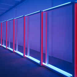 "Flavin placed his work in corners and corridors and created ""barriers"" within rooms"