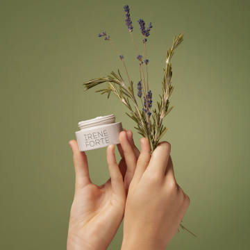 The Irene Forte skincare collection is made from own-grown herbs such as rosemary and lavender, as well as olive oil, nuts and fruit