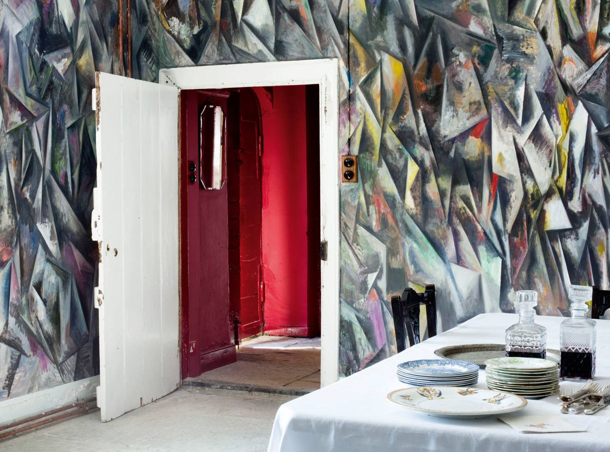 A room in Hauser & Wirth's Durslade Farmhouse, Somerset, featuring Untitled, a mural by Guillermo Kuitca