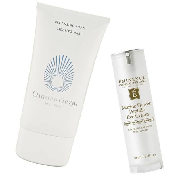 Omorovicza Cleansing Foam, £49 for 150ml, and Eminence Marine Flower Peptide Eye Cream, £69 for 30ml