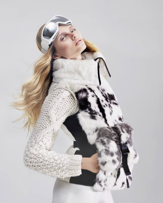 Moncler Grenoble rabbit fur and cotton gilet, £2,625, wool jumper, £735, and nylon/viscose leggings, £210. Chanel ski goggles, from £243