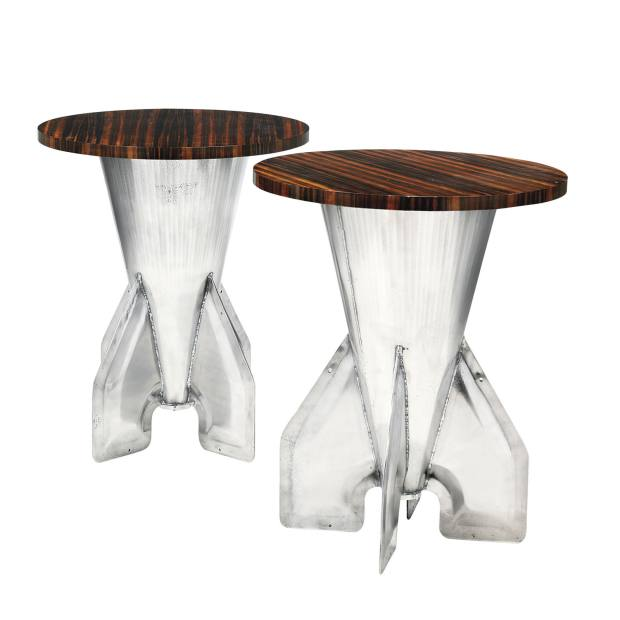 Circa 1955 missile-tail and calamander-wood tables, sold for £2,375 at Christie's