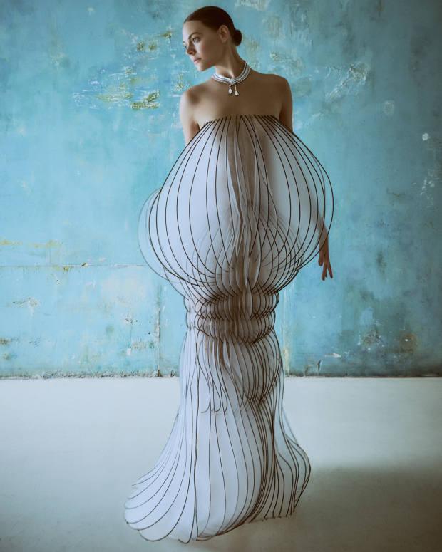 Iris van Herpen Haute Couture organza dress, POA. Van Cleef & Arpels white gold and diamond Reticella necklace, POA