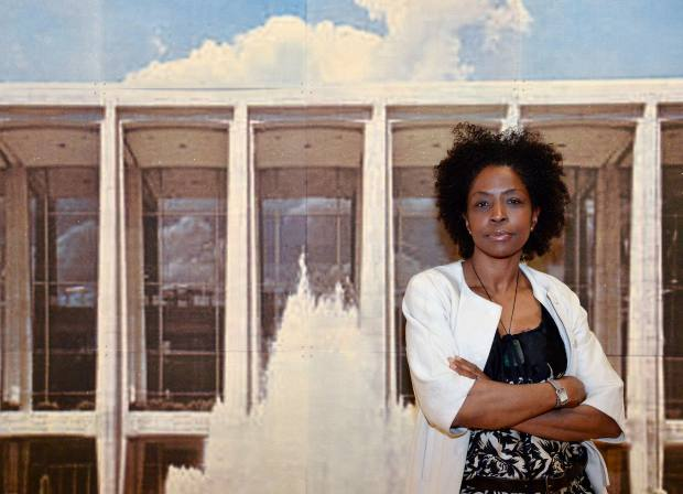 Conceptual artist Lorna Simpson with her 2011 work Daytime