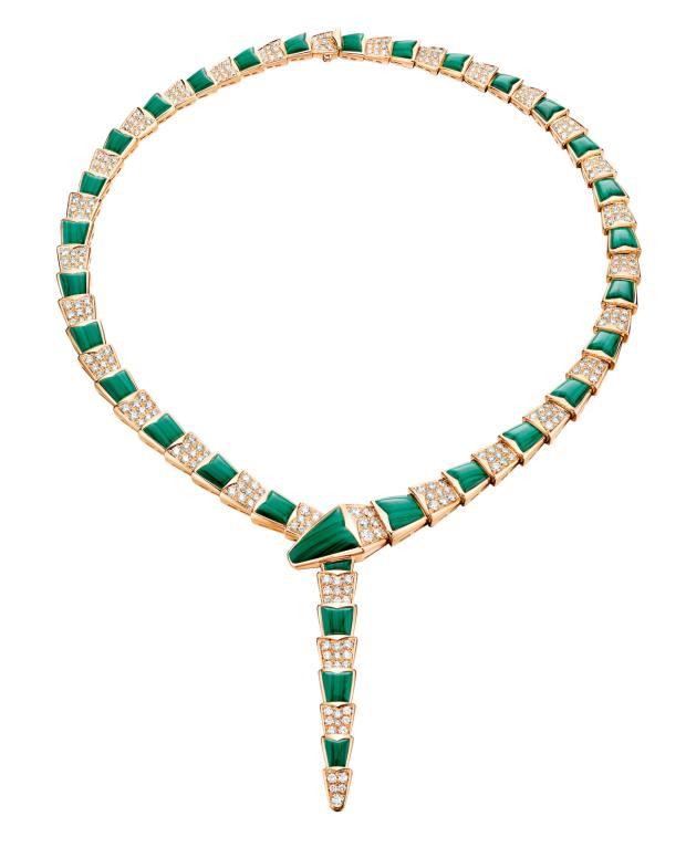 Bulgari pink gold, diamond and malachite Serpenti necklace, £65,000