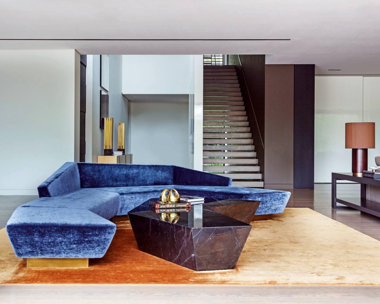 Anaktae velvet and brass Adrastus sofa, €9,900 plus fabric, and marble Atreus coffee table, €6,300