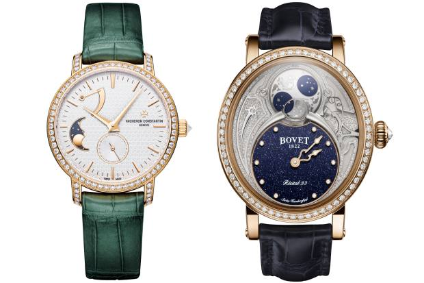 From left: Vacheron Constantin Traditionnelle Moon Phase, £38,800, from Harrods. Bovet Récital 23 Moon Phase, about £42,000, from Watches of Switzerland