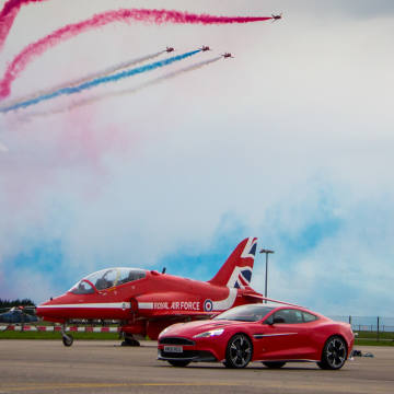 The special edition Aston Martin Vanquish is painted in Red Arrows livery and was inspired by the design of a particular jet
