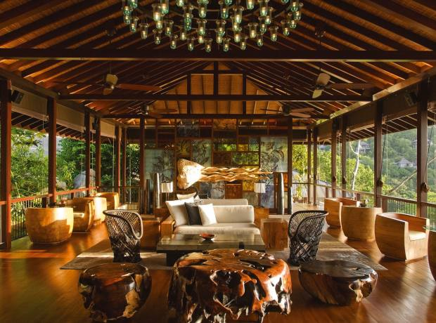 The lobby at the Four Seasons Seychelles gazes out over the jungle.