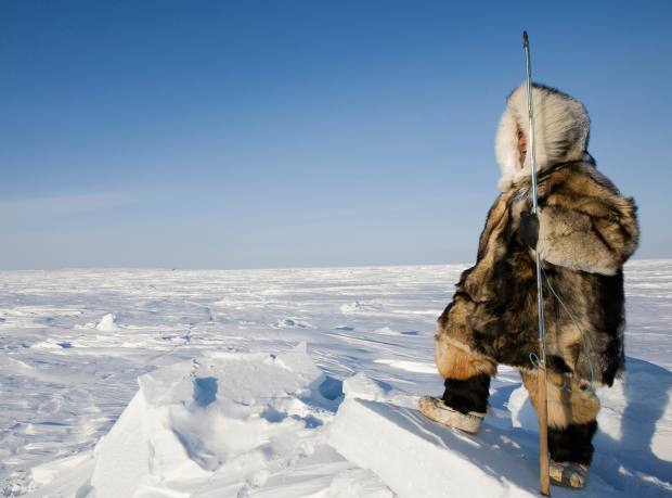 An Inuit man in the Canadian Arctic